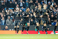 Celtic's celebrate Patrick Roberts (27) opening goal 0-1 during the Champions League match between Manchester City and Celtic at the Etihad Stadium, Manchester, England on 6 December 2016. Photo by Craig Galloway.