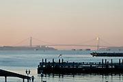 USA, NY, New York City, Verrazano Narrows Bridge and Staten Island in the background