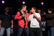 DALLAS, TX - MAY 10:  Joanna Jedrzejczyk faces off with Jessica Andrade during the UFC 211 Ultimate Media Day at the House of Blues Dallas on May 10, 2017 in Dallas, Texas. (Photo by Cooper Neill/Zuffa LLC/Zuffa LLC via Getty Images)