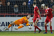 A save by Accrington Stanley goalkeeper Connor Ripley (30)  during the The FA Cup 3rd round match between Accrington Stanley and Ipswich Town at the Fraser Eagle Stadium, Accrington, England on 5 January 2019.
