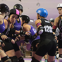 Rainy City Roller Derby All Stars take on London Roller Girls Brawl Saints at The Thunderdome, King Street, Oldham, 2016-09-03