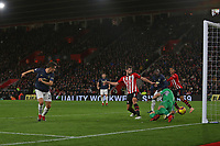 Football - 2018 / 2019 Premier League - Southampton vs. Manchester United<br /> <br /> Ander Herrera of Manchester United flicks the ball past Southampton's Alex McCarthy to equalise at St Mary's Stadium Southampton<br /> <br /> COLORSPORT/SHAUN BOGGUST