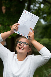 """© Licensed to London News Pictures. 15/08/2016. Sutton Coldfield, West Midlands,UK. Bishops Vesey's Grammar School pupils celebrating their A level results. Pictured, Molly Willars, 18, Four A stars, and a place at Oxford studying Maths. Headmaster Dominic Robson said, """"The pupils had done amazingly well, achieving 80% A star and B grades especially given the change to the marking of the A level system this year. Photo credit: Dave Warren/LNP"""