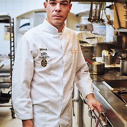 Chef Xavier Caussade posing in the kitchen at Maison de la Truffe. Paris, France. Nov. 29, 2018. <br /> Le Chef Xavier Caussade prends la pose dans les cuisines de la Maison de la Truffe. Paris, France. 29 novembre 2018.