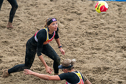 Madelein Meppelink in action. The DELA NK Beach volleyball for men and women will be played in The Hague Beach Stadium on the beach of Scheveningen on 22 July 2020 in Zaandam.
