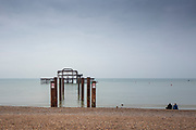 Brighton, Sussex, England. UK,  Sunday,  10/10/2021, General Views, Derelict West Pier, Seafront Area, England's South coast, [Mandatory Credit: Pete SPURRIER].