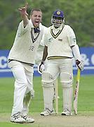 Shenley, Middlsex. ENGLAND, Sri Lanka Tour match.<br /> Photo Peter Spurrier<br /> 11/05/2002<br /> Sport - Cricket - Middlesex vs Sri Lanka -Shenley:<br /> Aaron Laraman appeals for de Silva's wicket                             [Mandatory Credit:Peter SPURRIER/Intersport Images]
