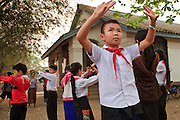 Mar. 13, 2009 -- LUANG PRABANG, LAOS:  Children at an elementary school in Luang Prabang, Laos, learn classical Lao dance.  Photo by Jack Kurtz