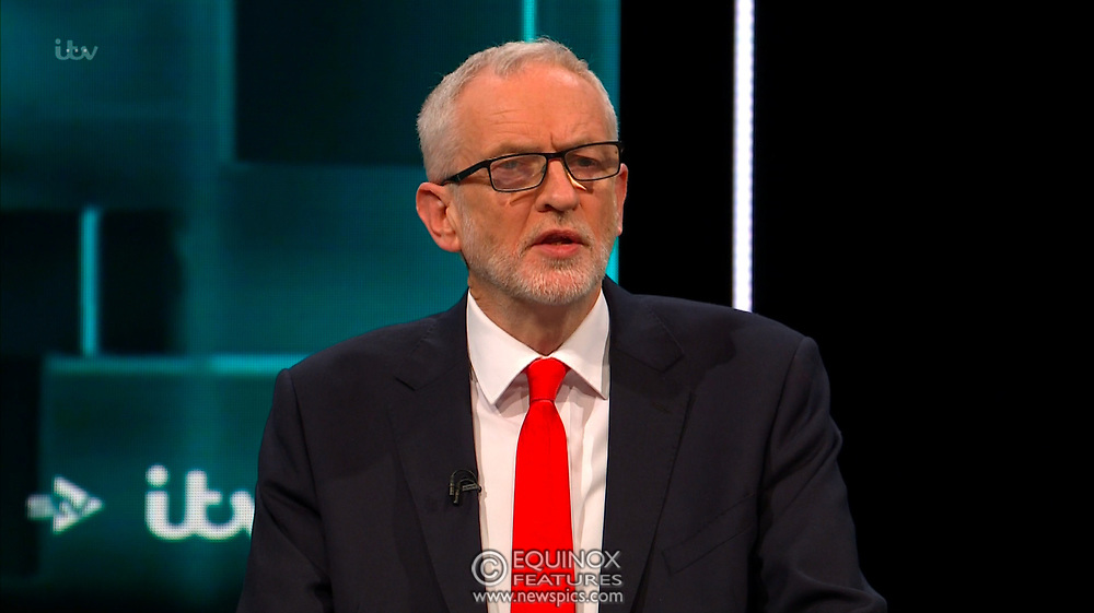 Broadcast TV, United Kingdom - 19 November 2019<br /> Labour leader Jeremy Corbyn and Prime Minister Boris Johnson debate live on ITV tonight as part of the 2019 general election campaign.<br /> (supplied by: Supplied by: EQUINOXFEATURES.COM)<br /> Picture Data:<br /> Contact: Equinox Features<br /> Date Taken: 20191119<br /> Time Taken: 212146<br /> www.newspics.com