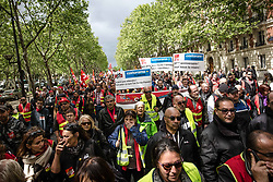 April 27, 2019 - Paris 8th (8th Arrondissement Of, Ile-de-France (region, France - Several thousand demonstrators, CGT red jackets, yellow jackets and representatives of left-wing parties mingled, demonstrated Saturday in Paris to oppose a general statement to the government and the Medef (Credit Image: © Sadak Souici/Le Pictorium Agency via ZUMA Press)