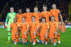 (BL-R) goalkeeper Loes Geurts of Netherlands women, Lineth Beerensteyn of The Netherlands women, Sherida Spitse of the Netherlands women, Kika van Es of the Netherlands women, Dominique Bloodworth -Janssen of the Netherlands women, Anouk Dekker of the Netherlands women (FL-R) Shanice van de Sanden of the Netherlands women, Jackie Groenen of The Netherlands women, Desiree van Lunteren of Netherlands women, Danielle van de Donk of Netherlands women, Lieke Martens of The Netherlands women during the FIFA Women's World Cup 2019 play off first leg qualifying match between The Netherlands and Denmark at the Rat Verlegh stadium on October 05, 2018 in Breda, The Netherlands