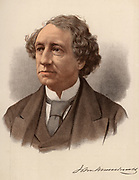 John Alexander Macdonald (1815-1891) Canadian statesman, born in Glasgow, Scotland, he emigrated to Canada with his family in 1820.   The first Canadian Prime Minister (1867-1873), he served a second term in office (1878-1891).    From 'The Modern Portrait Gallery' (London, c1880). Tinted lithograph.