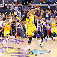 03 August 2014: Los Angeles Sparks guard Candice Wiggins (2) celebrates during the Los Angeles Sparks 70-69 victory over the Connecticut Sun, at the Staples Center, Los Angeles, California, USA.