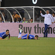 Chelsea coach Jose Mourinho, (right) reacts as John Terry, (left) and Branislav Ivanovic, Chelsea, collide   during the Chelsea V AC Milan Guinness International Champions Cup tie at MetLife Stadium, East Rutherford, New Jersey, USA.  4th August 2013. Photo Tim Clayton