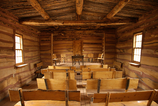 interior of Mormon Meeting House replica at Bluff Fort in Bluff, Utah