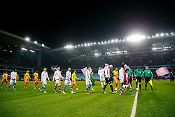 Aston Villa walk out before kick off - Mandatory byline: Rogan Thomson/JMP - 19/01/2016 - FOOTBALL - Villa Park Stadium - Birmingham, England - Aston Villa v Wycombe Wanderers - FA Cup Third Round Replay.