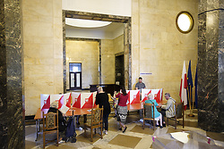 May 26, 2019 - Warsaw, Poland - People are seen taking part in the elections for European Parliament in the Palace of Culture and Sciences in Warsaw, Poland on May 26, 2019. (Credit Image: © Jaap Arriens/NurPhoto via ZUMA Press)