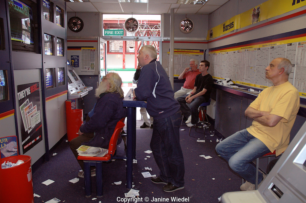 Men sitting in London betting shop watching the odds on the Ascot race.