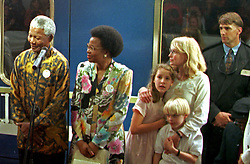 Oct. 22, 1997 - Cape Town, South Africa - NELSON MANDELA and GRACA MACHEL with MIA FARROW and her children on the platform of Worcester Station after the Blue Train stopped during the Nelson Mandela Blue Train Fund Raising experience. (Credit Image: © Sasa Kralj/JiwaFoto/ZUMAPRESS.com)