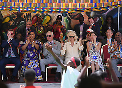 The Prince of Wales and Duchess of Cornwall during a visit to the Jamestown Cafe in Accra, Ghana, on day four of their trip to west Africa.
