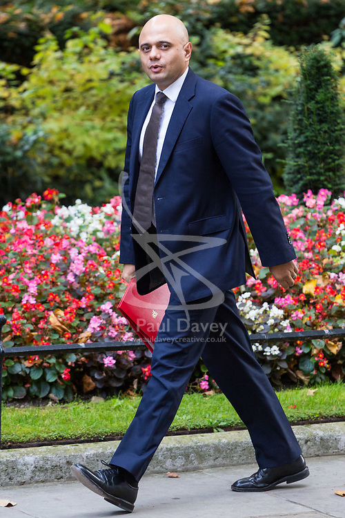 London, October 17 2017. Communities and Local Government Secretary Sajid Javid attends the UK cabinet meeting at Downing Street. © Paul Davey