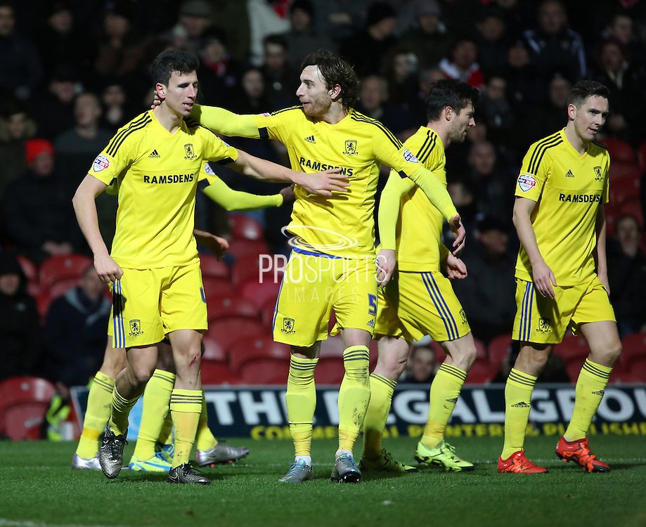 Middlesbrough defender Daniel Ayala celebrating scoring first goal of the game during the Sky Bet Championship match between Brentford and Middlesbrough at Griffin Park, London, England on 12 January 2016. Photo by Matthew Redman.