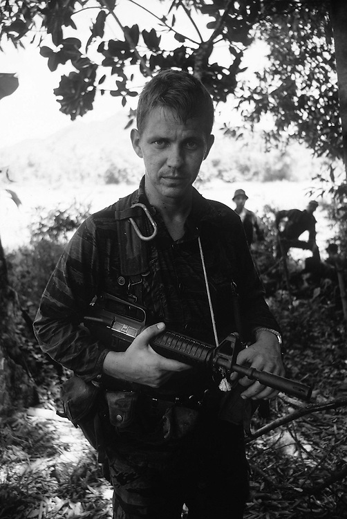 Soldier of the American Special Forces seen during the conflict in Vietnam.He is seen on patrol in the Central Highlands. October 1970. Photographed by Terry Fincher