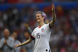 July 7, 2019 - Lyon, France - Megan Rapinoe (Reign FC) of United States celebrate after winning the 2019 FIFA Women's World Cup France Final match between The United State of America and The Netherlands at Stade de Lyon on July 7, 2019 in Lyon, France. (Credit Image: © Jose Breton/NurPhoto via ZUMA Press)