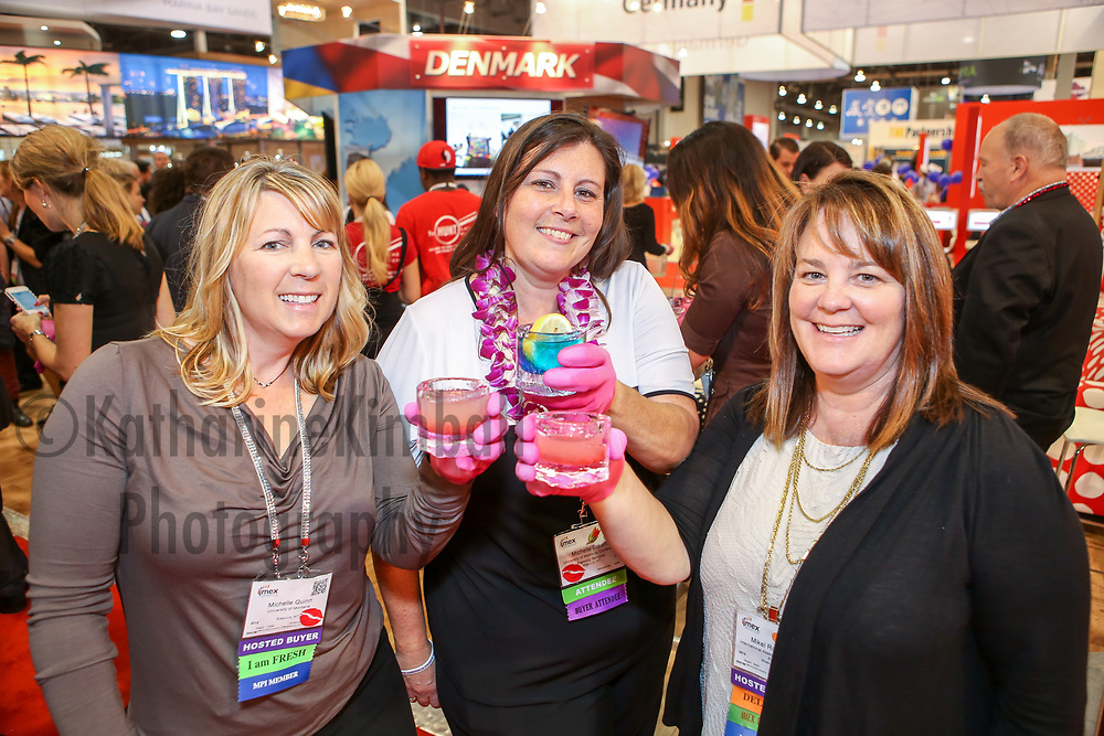IMEX America attendees enjoy an icy beverage at Denmark's booth at the Sands Expo and Convention Center in Las Vegas, NV.