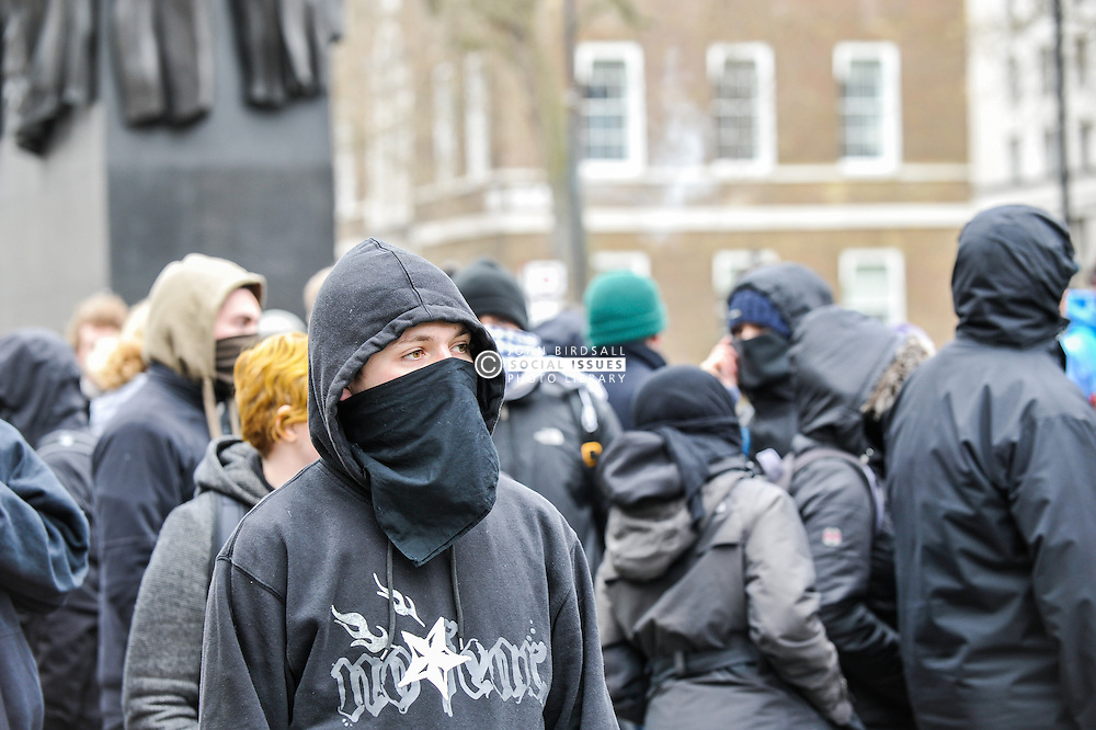Black Bloc anti-fascists demonstrate against Pegida (Patriotic Europeans Against the Islamisation of the West) in Whitehall. London Feb 2016
