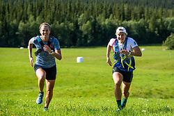 August 7, 2018 - VLDalen, SVERIGE - 180807 Anna Dyvik och Hanna Falk ruschar under en presstrÅff den 7 Augusti 2018 i VÅ'lÅ'dalen  (Credit Image: © Johan Axelsson/Bildbyran via ZUMA Press)
