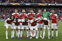 BRITAIN-LONDON-FOOTBALL-UEFA EUROPA LEAGUE-ARSENAL VS VALENCIA.(190502) -- LONDON, May 2, 2019  Arsenal players pose for a team photograph before the UEFA Europa League semi-final first leg match between Arsenal and Valencia at The Emirates Stadium in London, Britain on May 2, 2019. Arsenal won 3-1.  FOR EDITORIAL USE ONLY. NOT FOR SALE FOR MARKETING OR ADVERTISING CAMPAIGNS. NO USE WITH UNAUTHORIZED AUDIO, VIDEO, DATA, FIXTURE LISTS, CLUB/LEAGUE LOGOS OR ''LIVE'' SERVICES. ONLINE IN-MATCH USE LIMITED TO 45 IMAGES, NO VIDEO EMULATION. NO USE IN BETTING, GAMES OR SINGLE CLUB/LEAGUE/PLAYER PUBLICATIONS. (Credit Image: © Matthew Impey/Xinhua via ZUMA Wire)