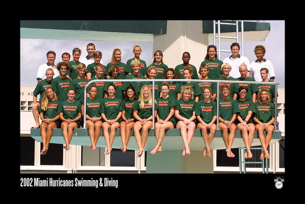 2002 Miami Hurricanes Swimming & Diving Team Photo