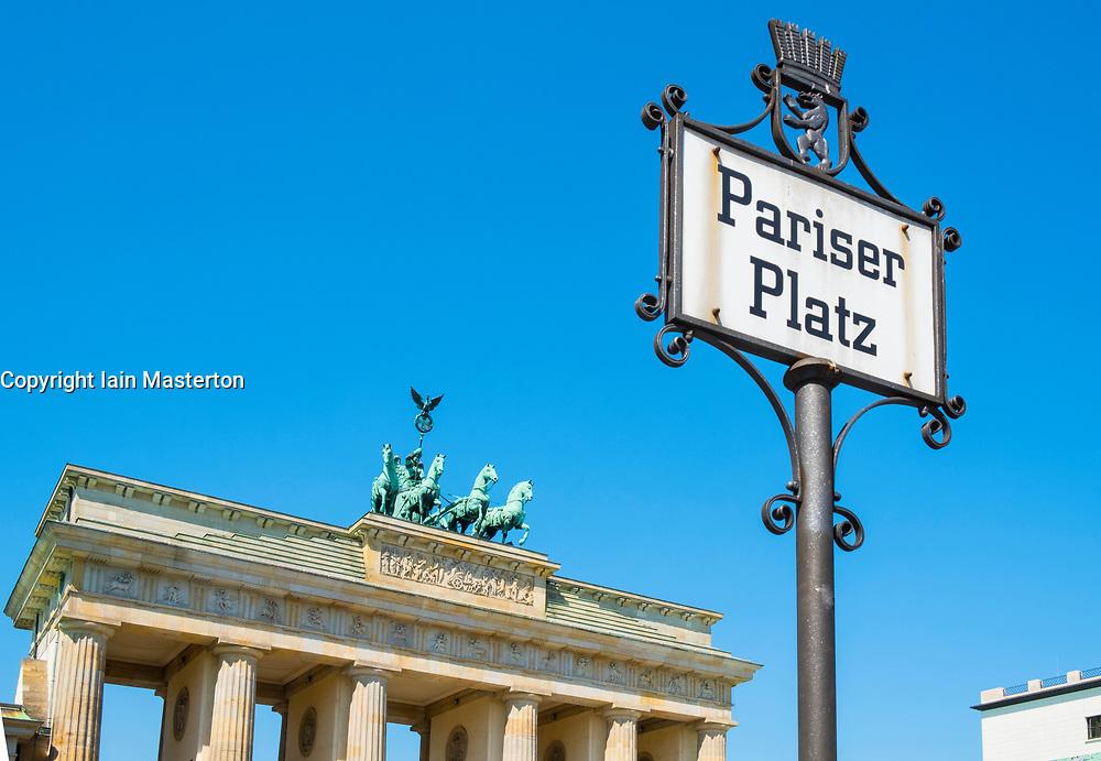 Brandenburg Gate at Pariser Platz in Berlin Germany