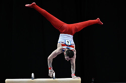 March 2, 2019 - Greensboro, North Carolina, US - JAMES HALL from Great Britain competes on the pommel horse at the Greensboro Coliseum in Greensboro, North Carolina. (Credit Image: © Amy Sanderson/ZUMA Wire)