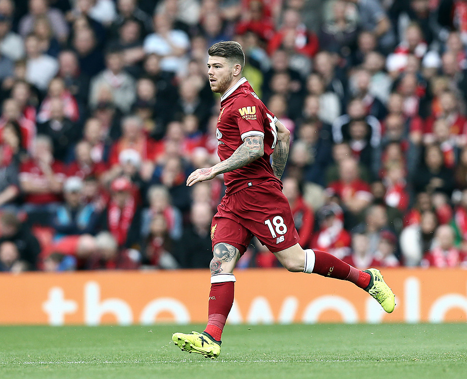 Liverpool's Alberto Moreno<br /> <br /> Photographer Rich Linley/CameraSport<br /> <br /> The Premier League - Liverpool v Manchester United - Saturday 14th October 2017 - Anfield - Liverpool<br /> <br /> World Copyright © 2017 CameraSport. All rights reserved. 43 Linden Ave. Countesthorpe. Leicester. England. LE8 5PG - Tel: +44 (0) 116 277 4147 - admin@camerasport.com - www.camerasport.com