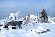 60595-00903 Inukshuk & polar bear statue in Churchill MB
