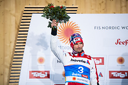 February 22, 2019 - Seefeld In Tirol, AUSTRIA - 190222 Silver medalist Jan Schmid of Norway celebrates on the podium after competing in menÃ•s nordic combined 10 km Individual Gundersen during the FIS Nordic World Ski Championships on February 22, 2019 in Seefeld in Tirol..Photo: Joel Marklund / BILDBYRN / kod JM / 87882 (Credit Image: © Joel Marklund/Bildbyran via ZUMA Press)