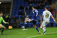 Cardiff City's Peter Whittingham (7) shoots at goal. Skybet football league championship match, Cardiff city v MK Dons at the Cardiff city stadium in Cardiff, South Wales on Saturday 6th February 2016.<br /> pic by Carl Robertson, Andrew Orchard sports photography.