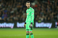 David De Gea , the Manchester United goalkeeper looking on. Premier league match, West Ham Utd v Manchester Utd at the London Stadium, Queen Elizabeth Olympic Park in London on Monday 2nd January 2017.<br /> pic by John Patrick Fletcher, Andrew Orchard sports photography.