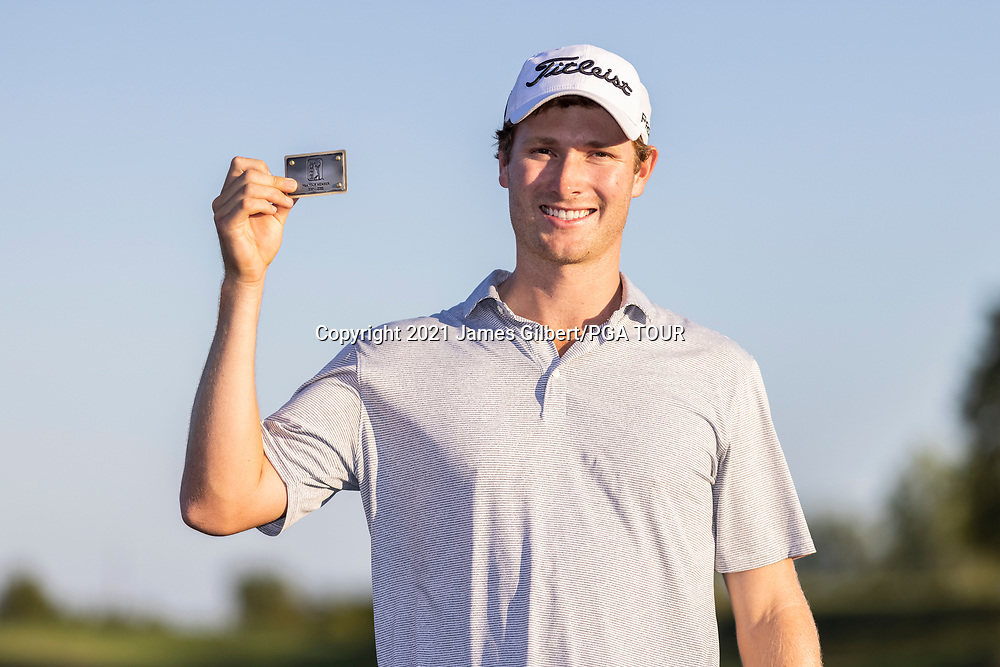 NEWBURGH, IN - SEPTEMBER 05: Vincent Whaley poses with his PGA Tour card after the Korn Ferry Tour Championship presented by United Leasing and Financing at Victoria National Golf Club on September 5, 2021 in Newburgh, Indiana. (Photo by James Gilbert/PGA TOUR via Getty Images)