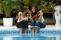16 year old Nicola Benedetti wins the BBC Young Musician of the Year in 2004. Pictured with her sister Stephannie at home in West Kilbride, 3/05/2004..Pic ©2010 Michael Schofield. All Rights Reserved..
