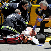 Monterey firefighters work to revive 44-year-old taxicab driver Daniel Huerta of Salinas after he was stabbed multiple times by 20-year-old Joshua Claypole of Big Sur in May 2013. Huerta later died from his injuries.