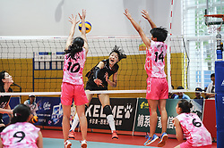 September 8, 2017 - Hangzhou, Hangzhou, China - Hangzhou, CHINA-8th September 2017: (EDITORIAL USE ONLY. CHINA OUT)..Female players at a volleyball match during the 13th National Student Sports Games in Hangzhou, east China's Zhejiang Province, September 8th, 2017. (Credit Image: © SIPA Asia via ZUMA Wire)