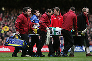 Thom Evans of Scotland is stretchered off with a neck injury. RBS Six nations, Wales v Scotland at the Millennium stadium, Cardiff on Sat 13th Feb 2010. pic by  Andrew Orchard sports photography,