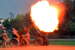 Sept. 6, 2017 - Lahore, Pakistan - Pakistani army soldiers fire a cannon during a ceremony to mark the country's Defense Day in eastern Pakistan's Lahore. Pakistan marked its 52nd anniversary of the war with India in 1965, or the Defense Day, on Wednesday to commemorate the people and soldiers who lost their lives in the war.  (Credit Image: © Jamil Ahmed/Xinhua via ZUMA Wire)
