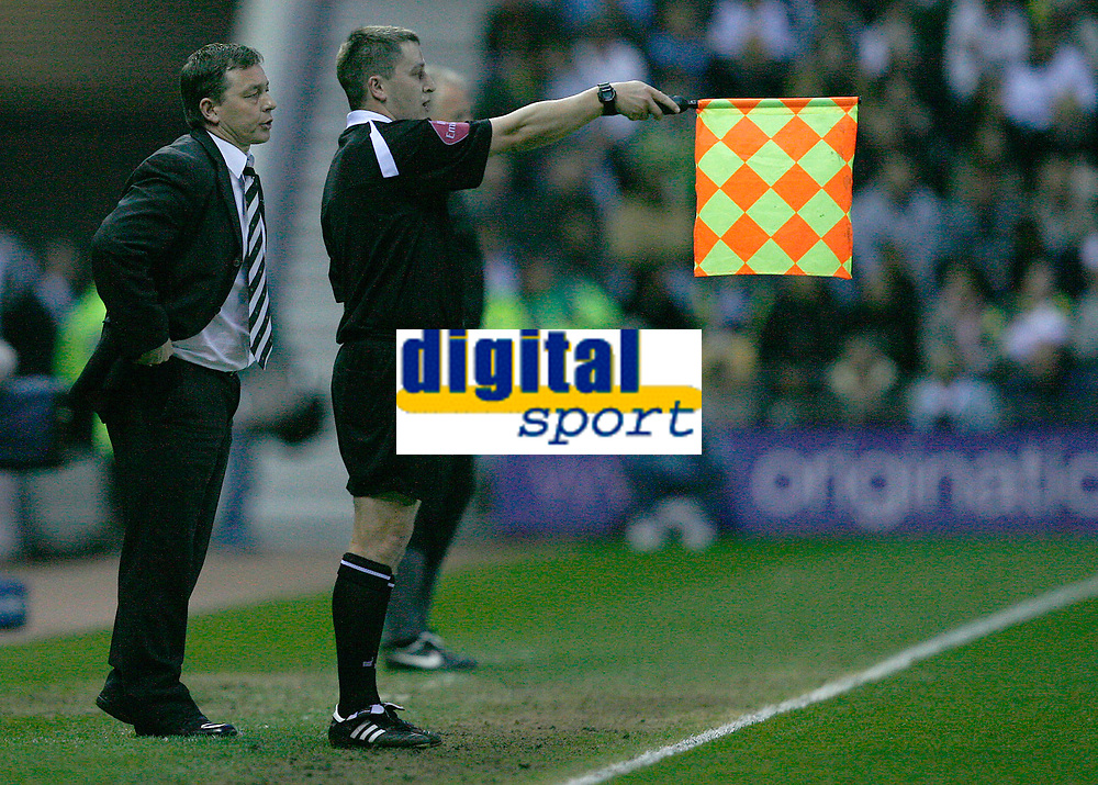 Photo: Steve Bond.<br /> Derby County v Luton Town. Coca Cola Championship. 20/04/2007. Billy Davies (L) is doubtful about the linesman's offside decision