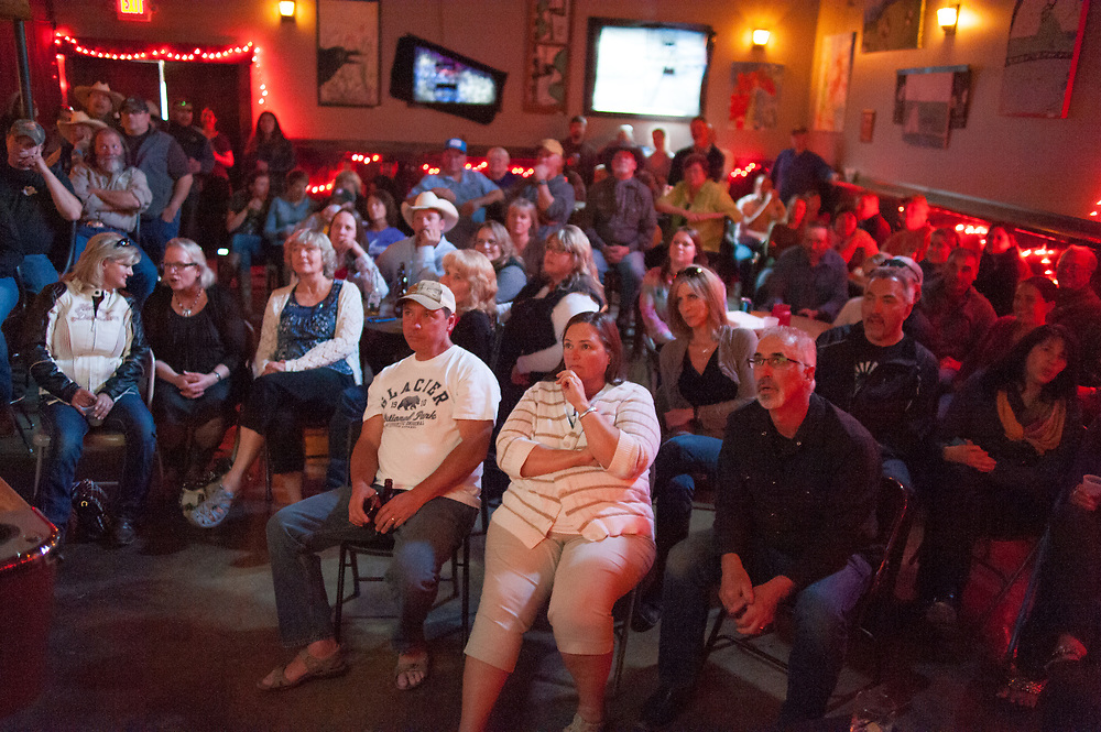 Family, friends, and locals watching the premier of Dead End Express.