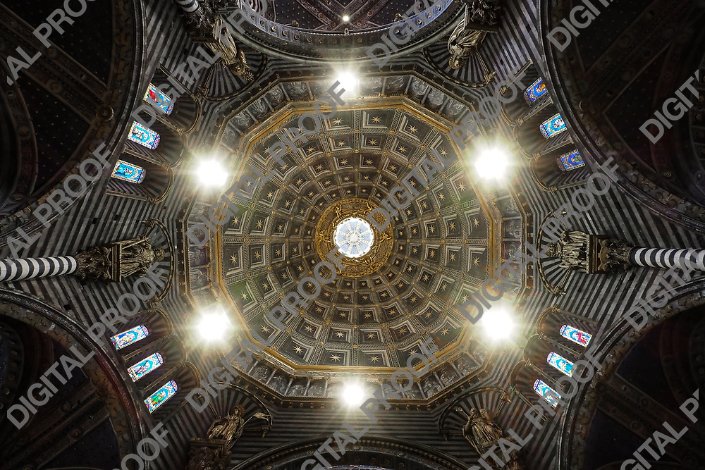 Interior view of the ceiling of the Dome of Siena (Duomo) by day