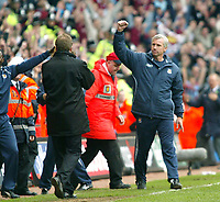 Photo: Chris Ratcliffe.<br /> Middlesbrough v West Ham United. The FA Cup, Semi-Final. 23/04/2006.<br /> Alan Pardew of West Ham celebrates the win in front of Steve McClaren (foreground)
